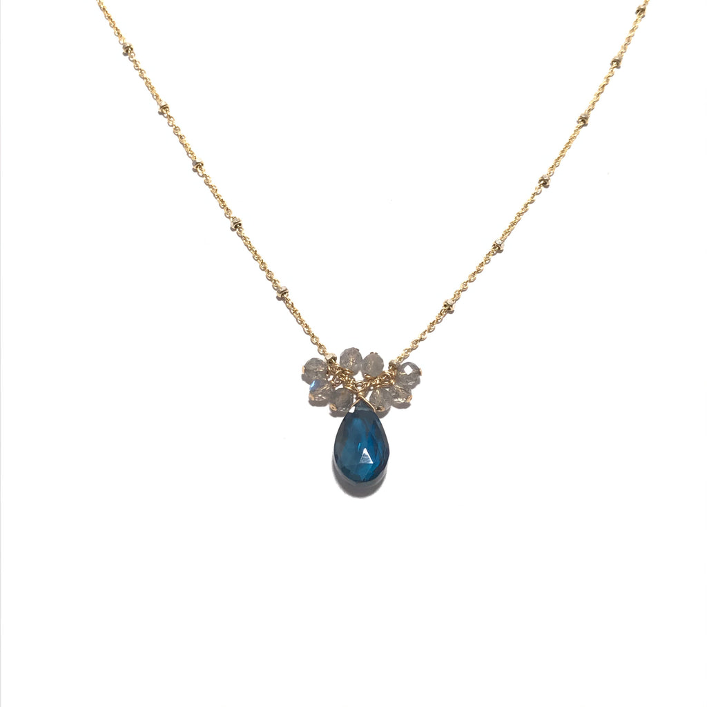 Something Blue London Blue and Labradorite Cluster Necklace