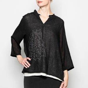 Peacock Ways Sally Top in Black
