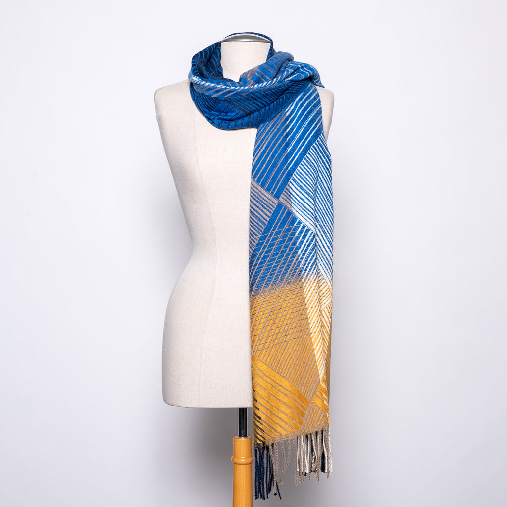 Pretty Persuasions Cross Lines Scarf in Green/Blue/Mustard