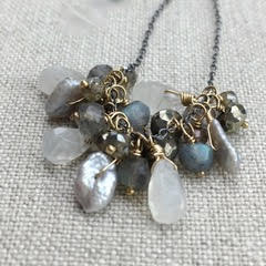 Karen Haas Labradorite, Moonstone, Pyrite and Pearl Cluster Necklace