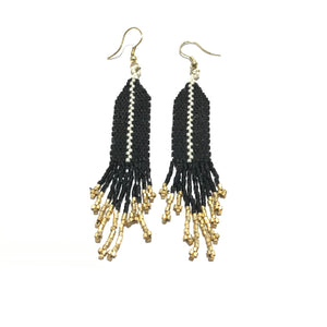 Ink + Alloy Black Ivory Stripe Luxe Earrings