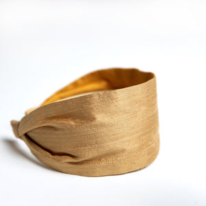 Cookie and the Dude Classic Headband in Mustard Silk Dupioni