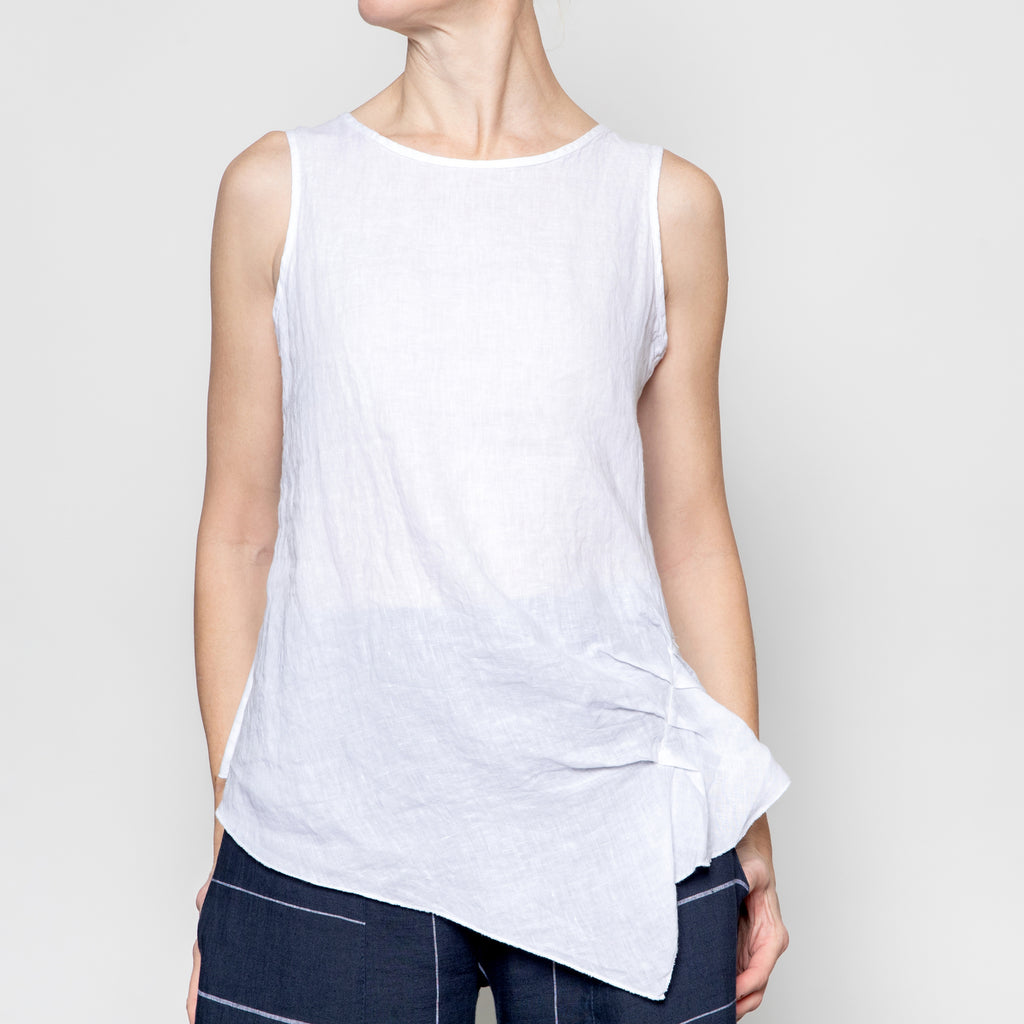 Inizio Side Ruched Top in White