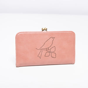 Nice Things Bird Motif Kiss Lock Wallet in Rose
