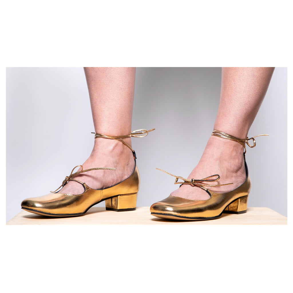 Ballet Flat in Gold with double ties by All Black