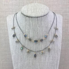 Karen Haas Labradorite Faceted Barrel and Rondelle Necklace