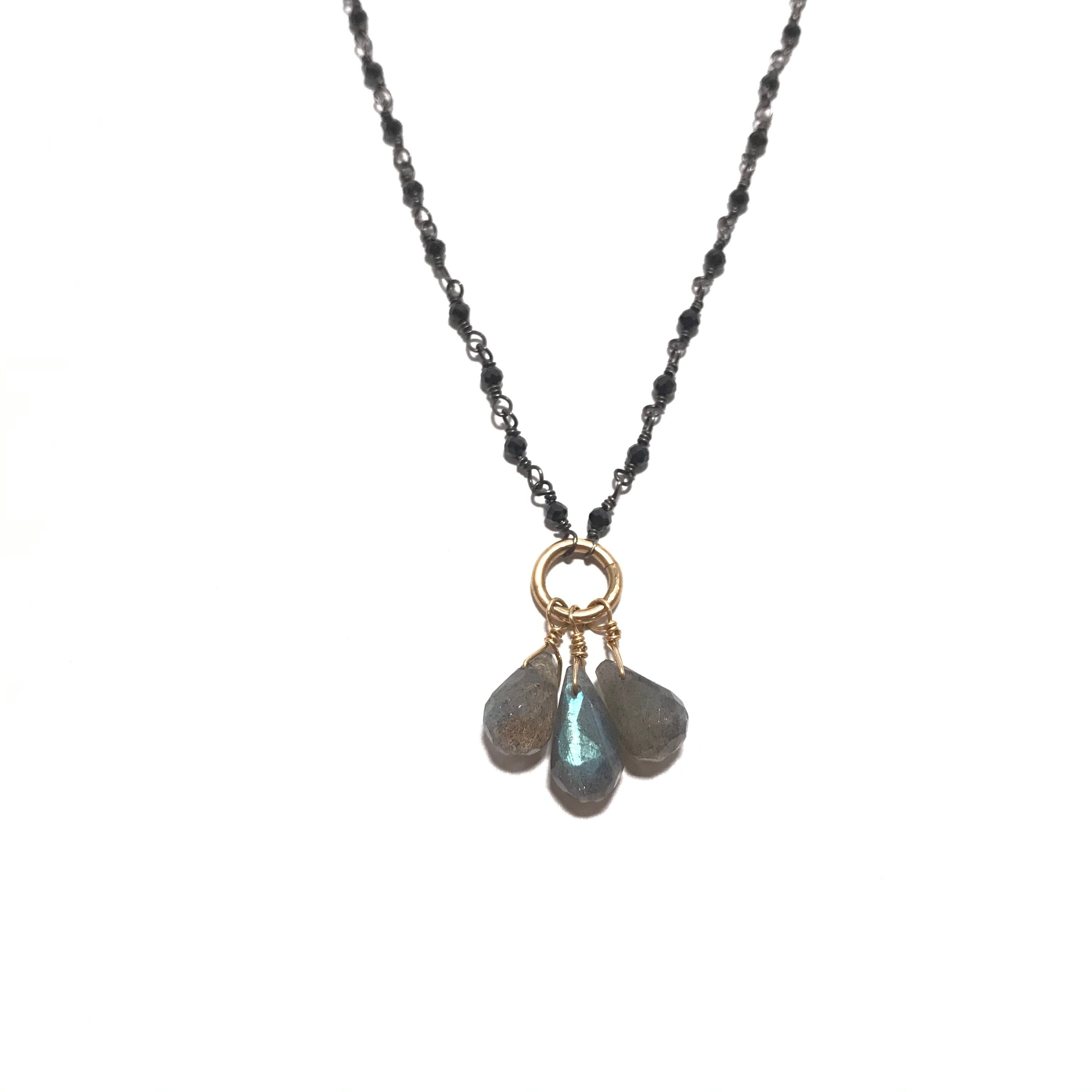 Something Blue Black Spinel and Labradorite Necklace