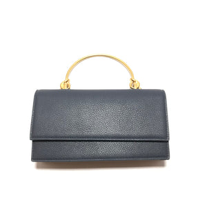 Sondra Roberts Brass Handle Clutch in Navy