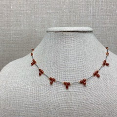 Karen Haas Carnelian Glass Bead Necklace