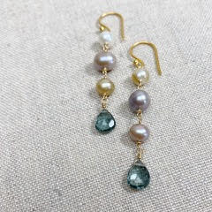 Karen Haas Potato Pearl with Hydro Quartz Briolette Earrings