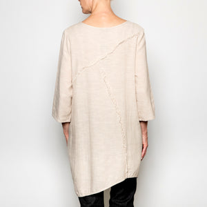 Peacock Ways Fray Straight Tunic in Beige
