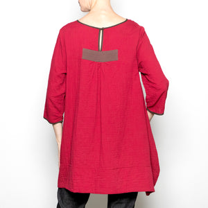 Peacock Ways Anna Blouse in Red