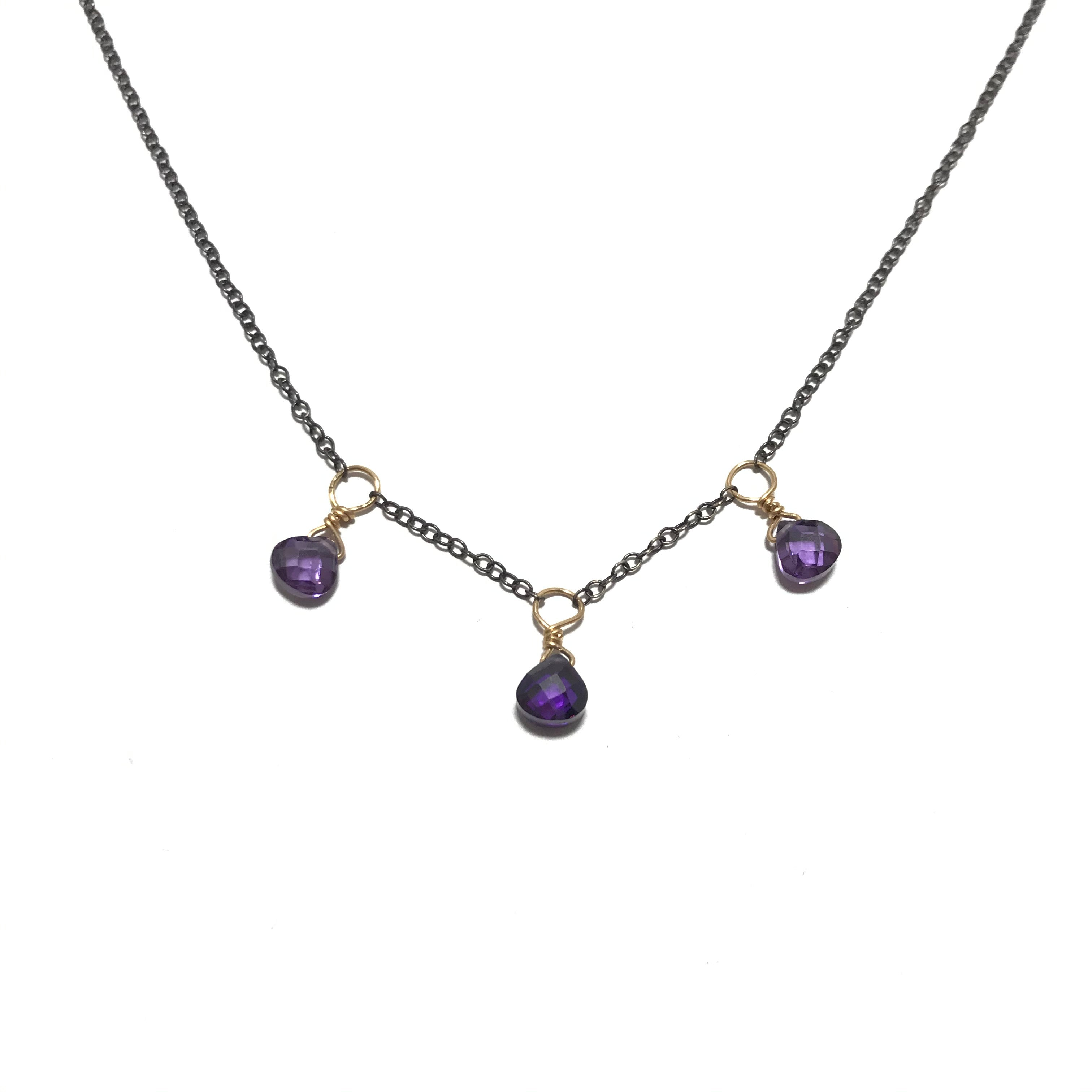 Something Blue Purple Cubic Zirconia Drop Necklace