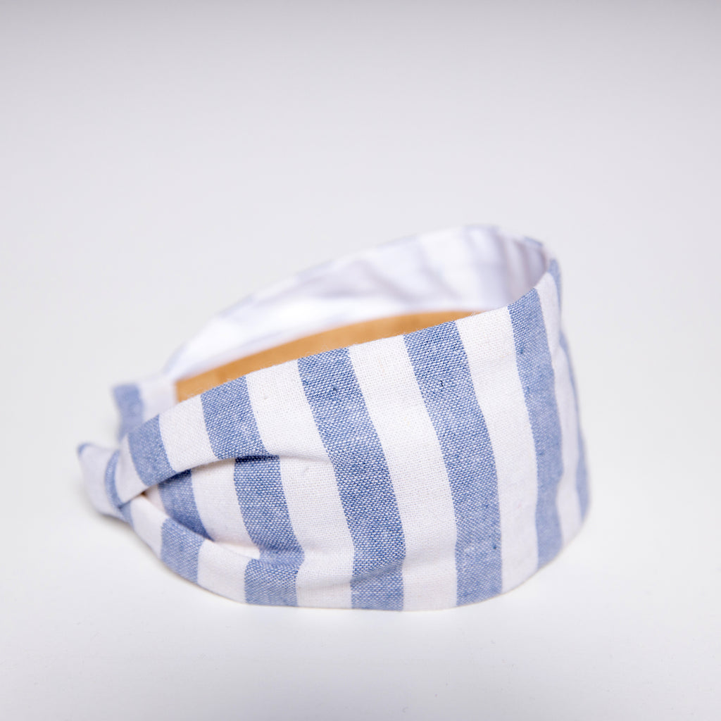 Cookie and the Dude Classic Headband in Chambray Linen Stripe