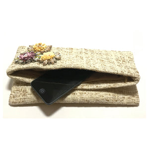 Sondra Roberts Floral Embellished Fold Over Clutch in Natural