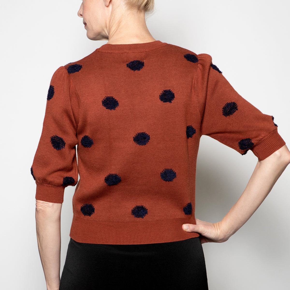 Compania Fantastica Polka Dot Sweater in Brown