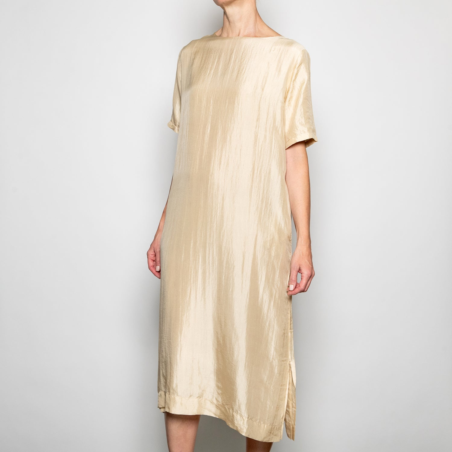 Annam Ti Shirt Dress-TI - S013-Cream-M/L