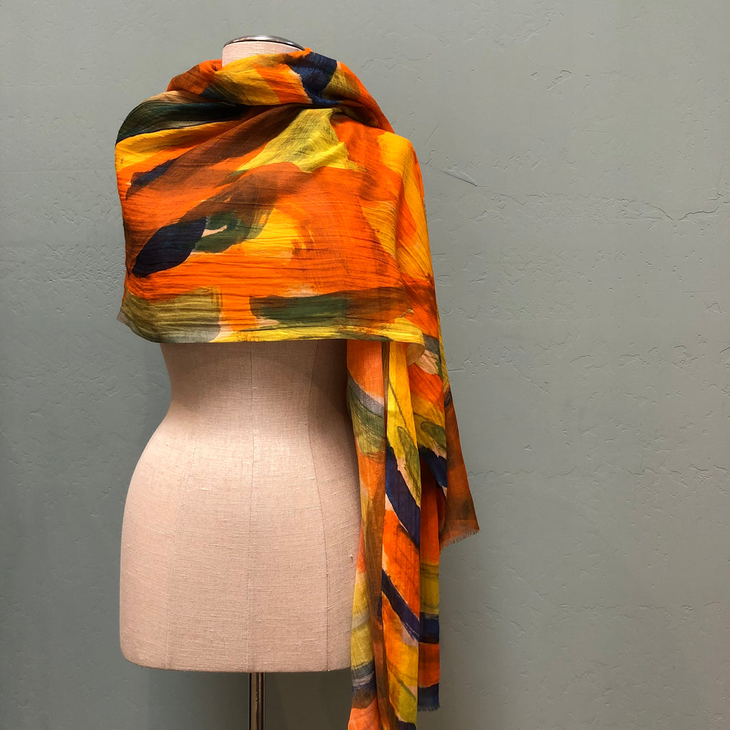 Cotton and modal print scarf with orange, black, yellow and green abstract design by Debbie Martin Design.