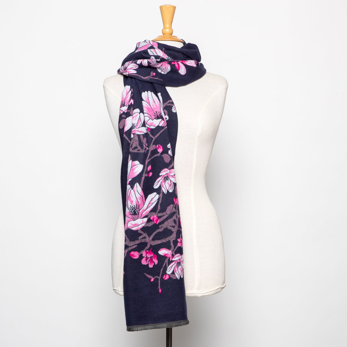 In Things Floral Scarf in Navy and Fuchsia