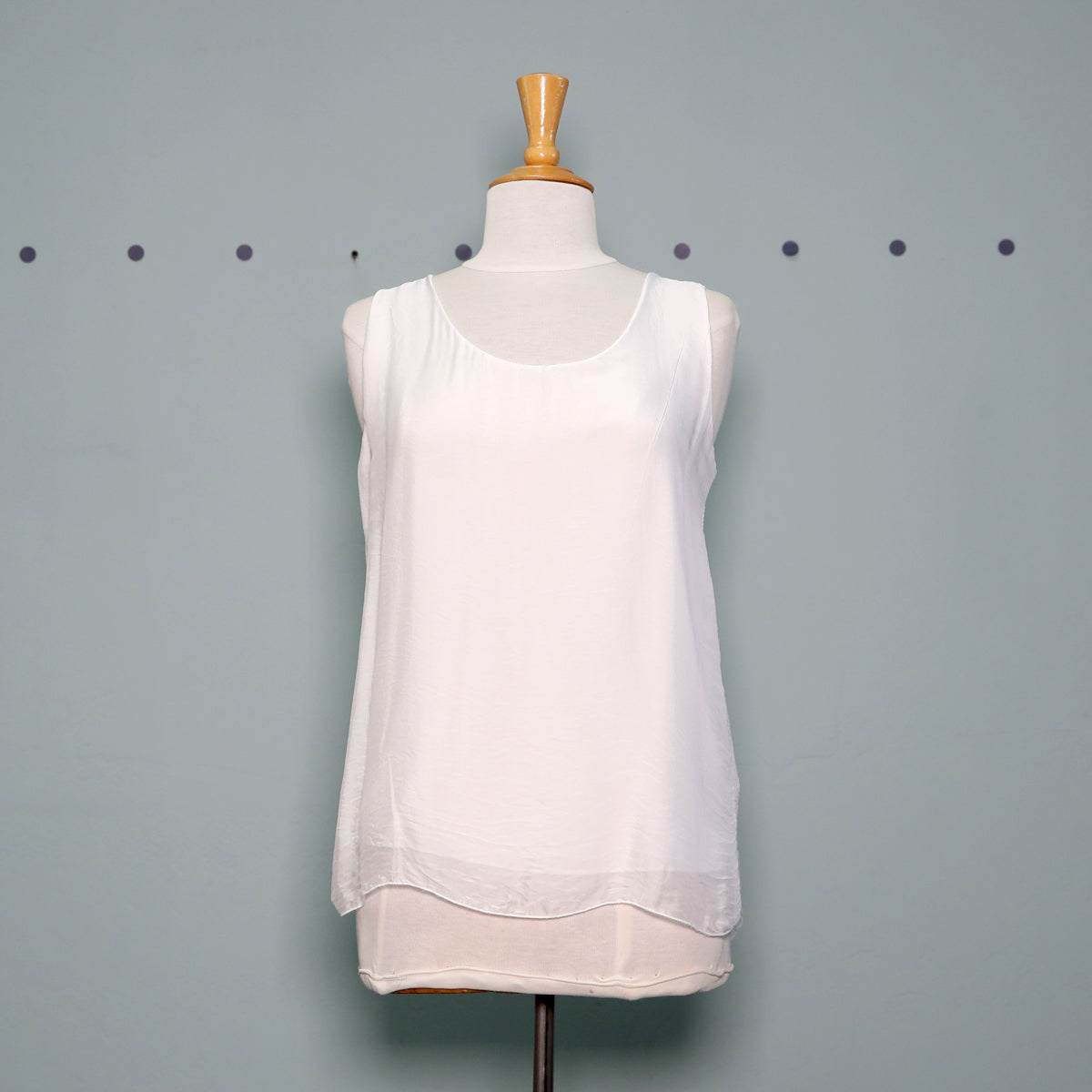 M Made in Italy Layered Tank in White