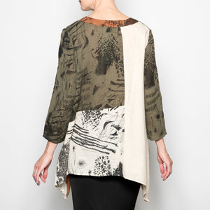 Peacock Ways Stella Tunic in Olive Print