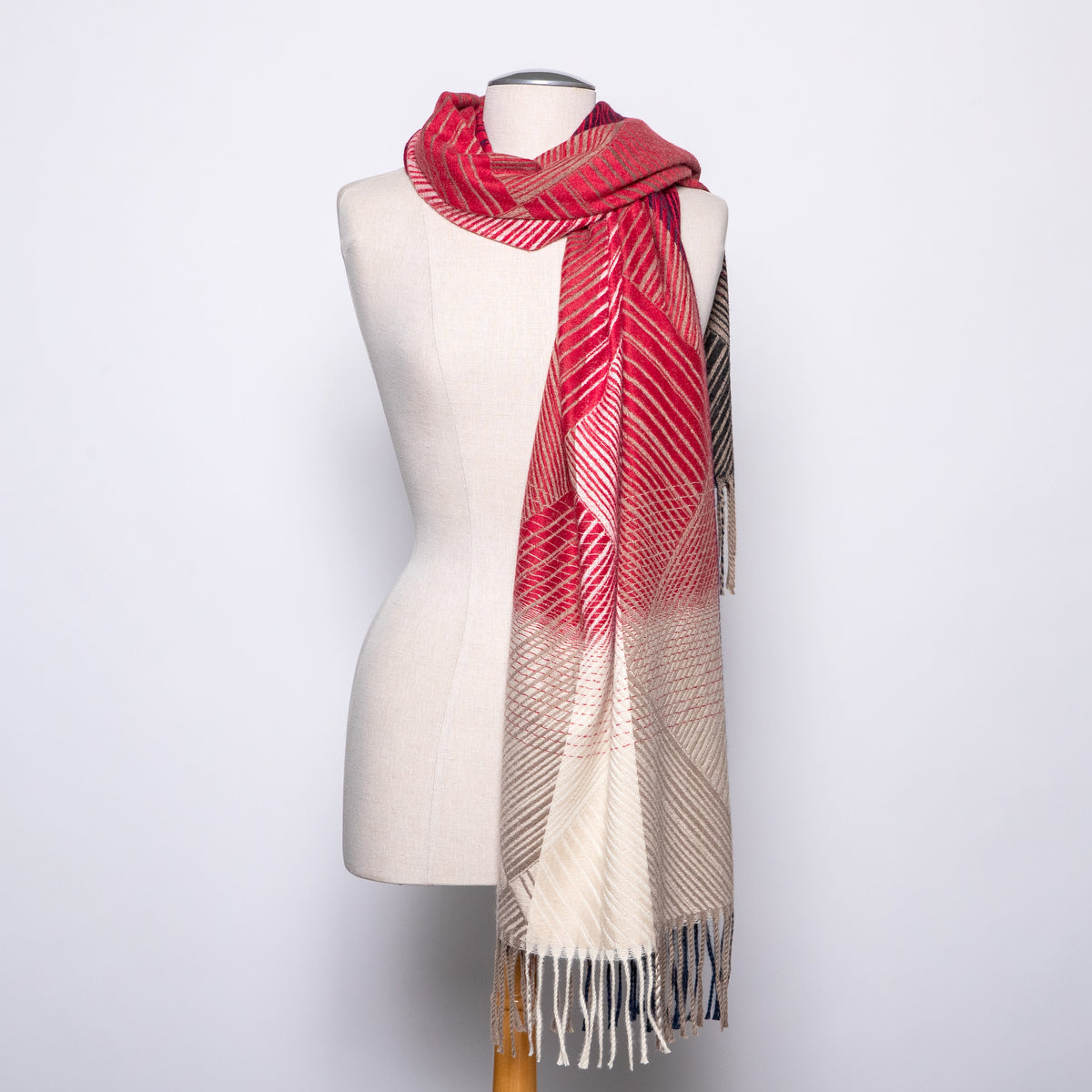 Pretty Persuasions Cross Lines Scarf in Black/Red/Beige