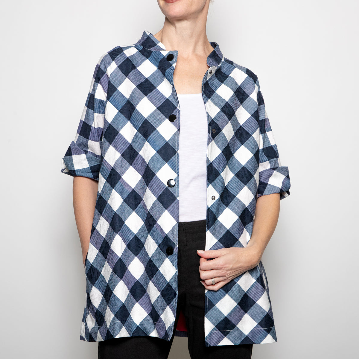 Luii-Navy and White Checkered Coat