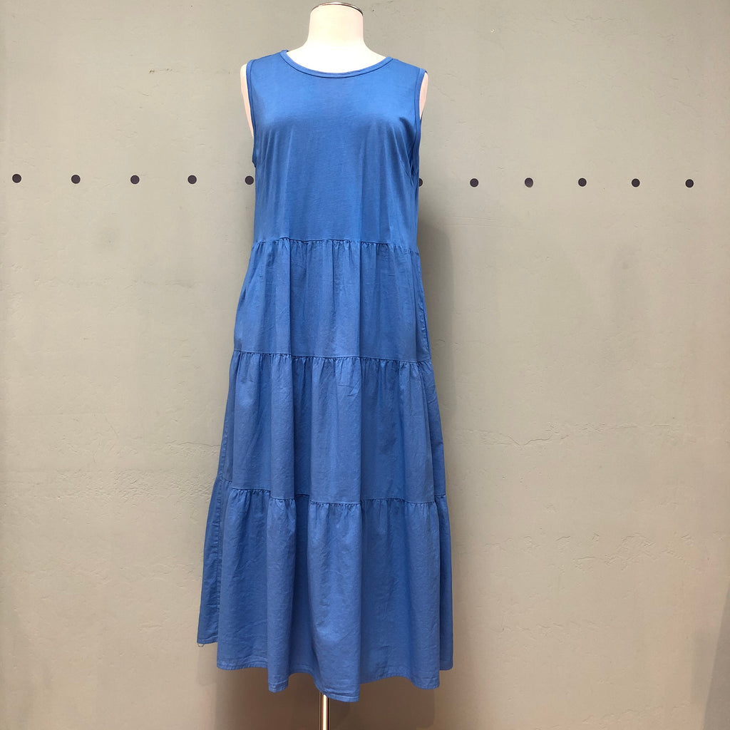 Baci 100% cotton royal blue dress with jersey bodice and 3 tiered woven skirt