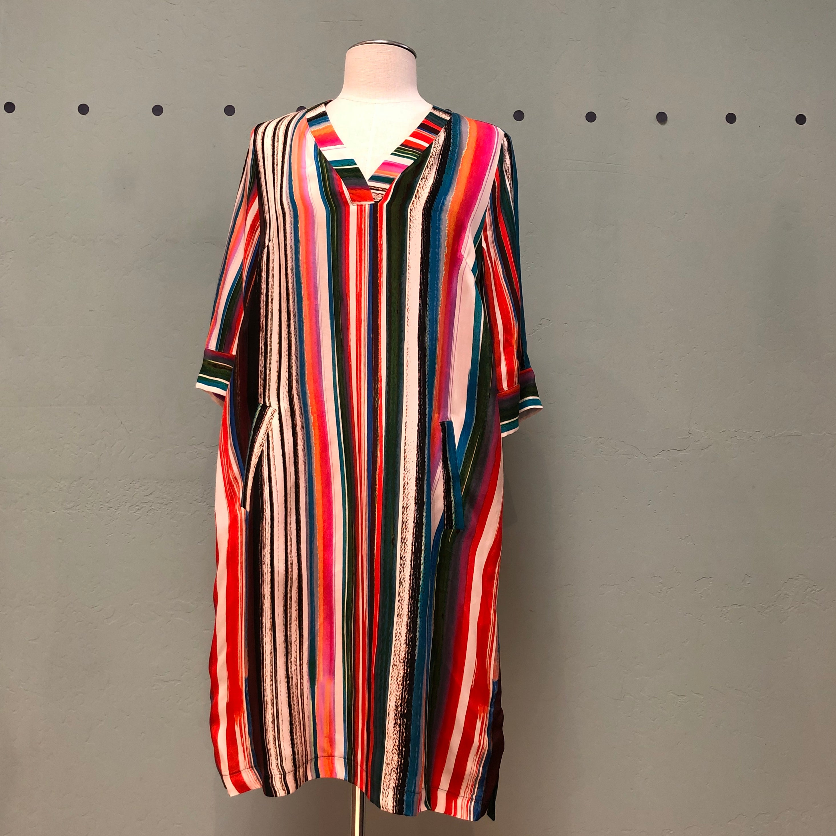 Q'neel Striped V-Neck Dress