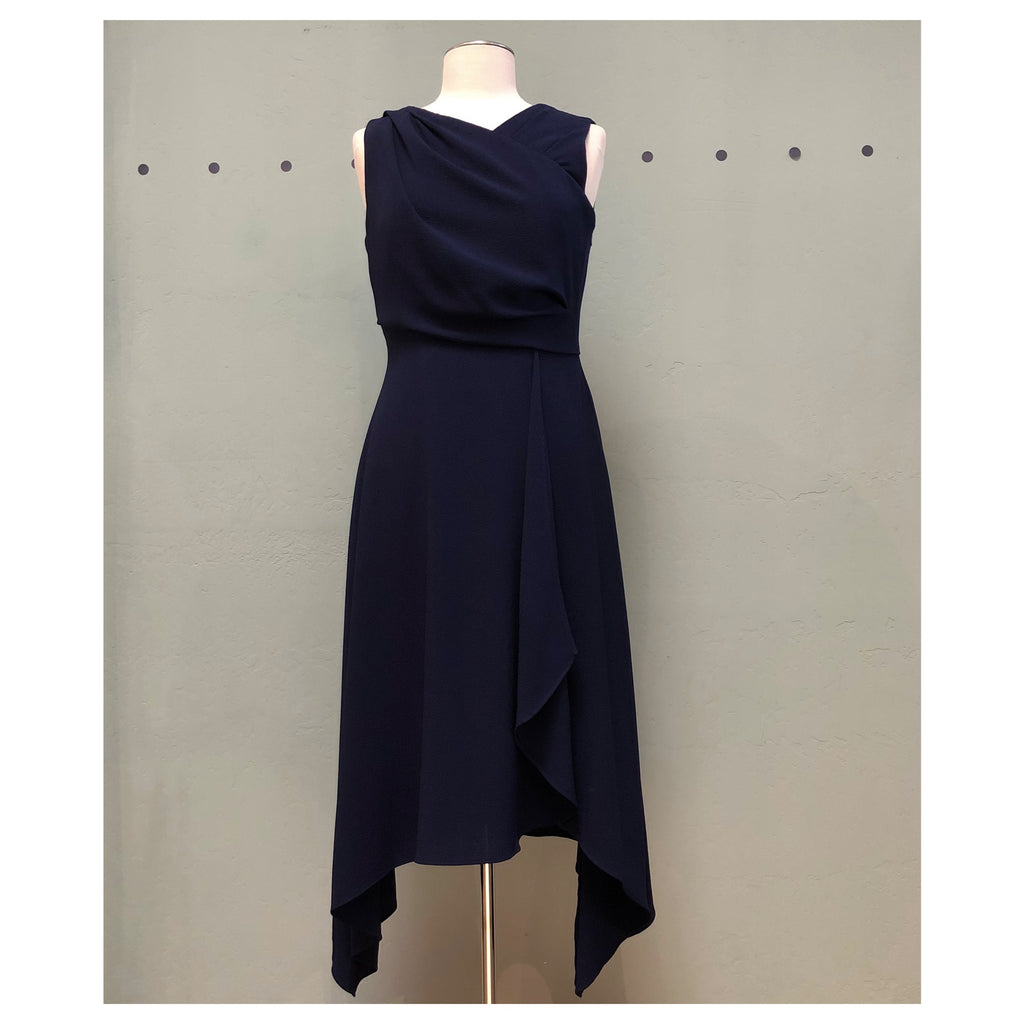 Maggy London Greecian Wrap Dress in Navy
