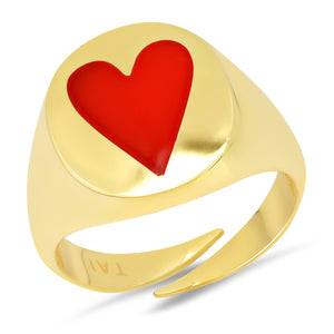 Tai Heart Signet Ring in Red size 6