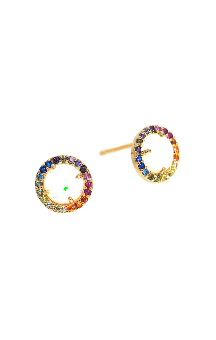 Tai Rainbow and Opal Stud Earrings