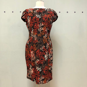 Apricot Fitted Red Floral Dress