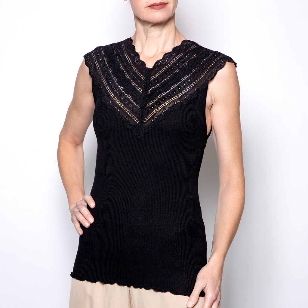 Rosemunde V-neck Lace Tank in Black