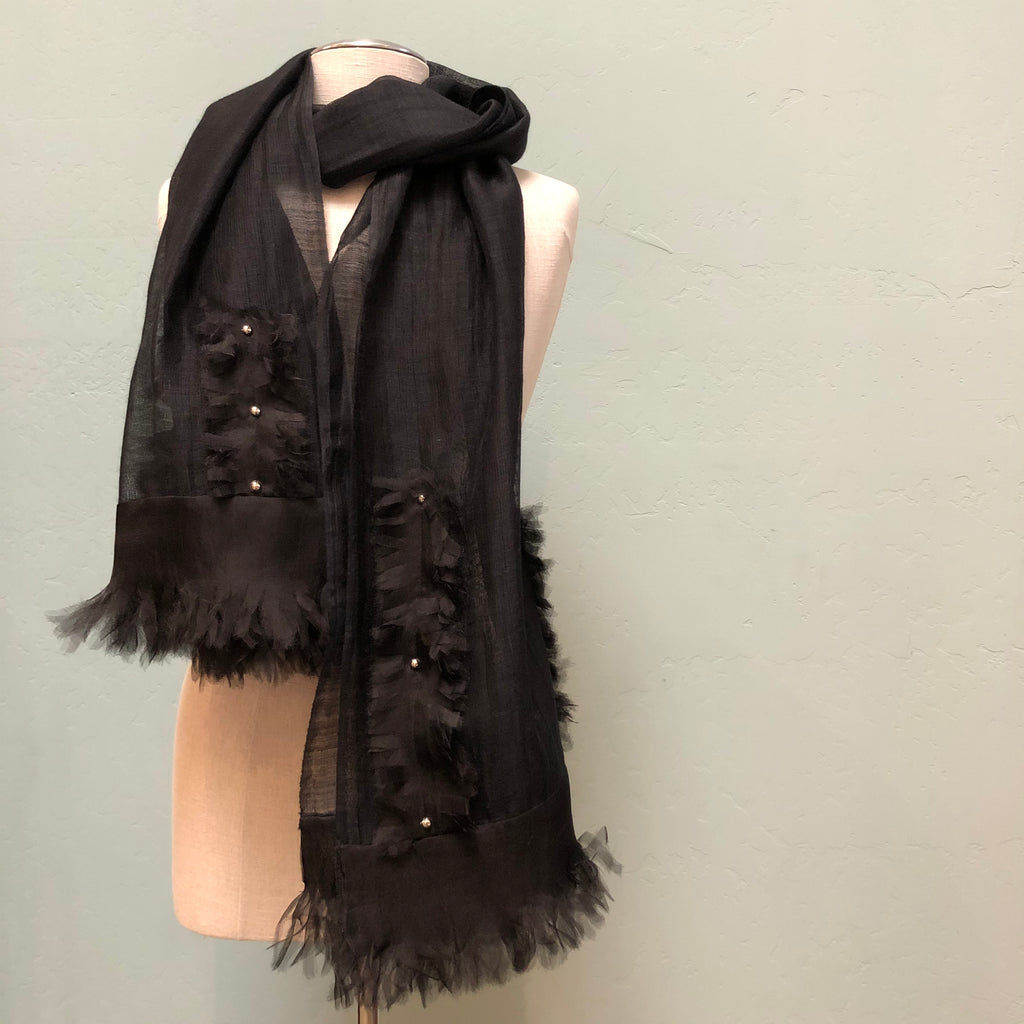 100% silk black evening shawl with velvet and sheer flower detail