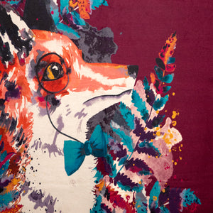 Powder Watercolor Mr. Fox Print Scarf