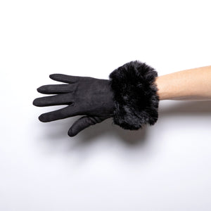 Jeanne Simmons Fur Cuffed Glove in Black