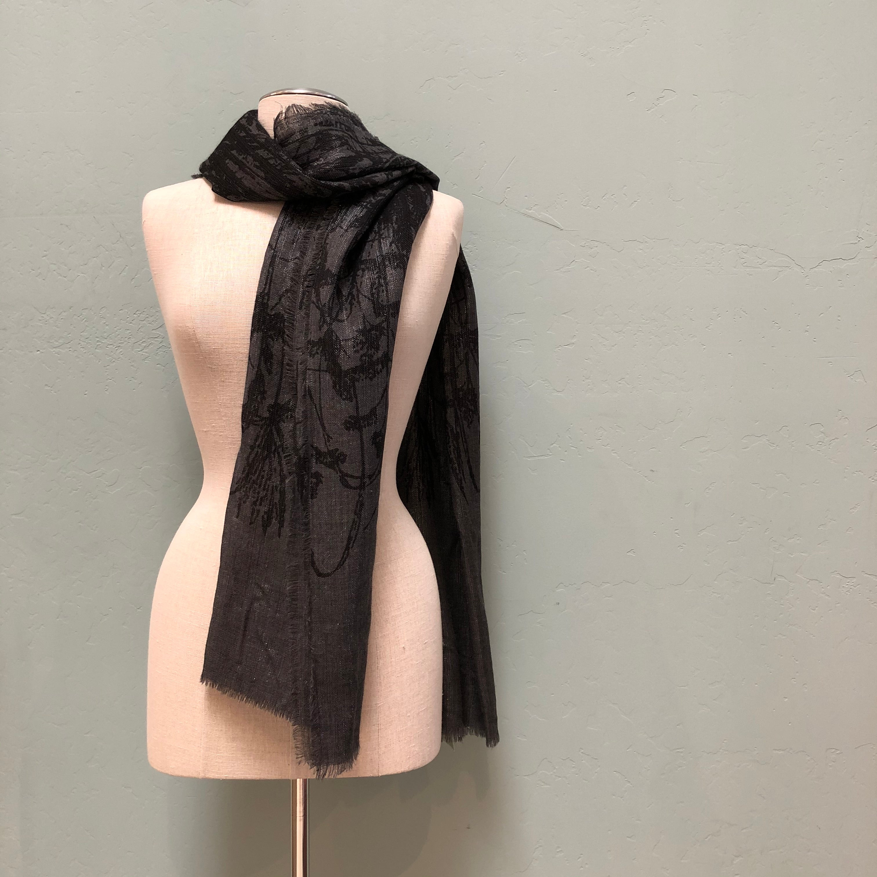 Lua Charcoal Falling Brances Shawl