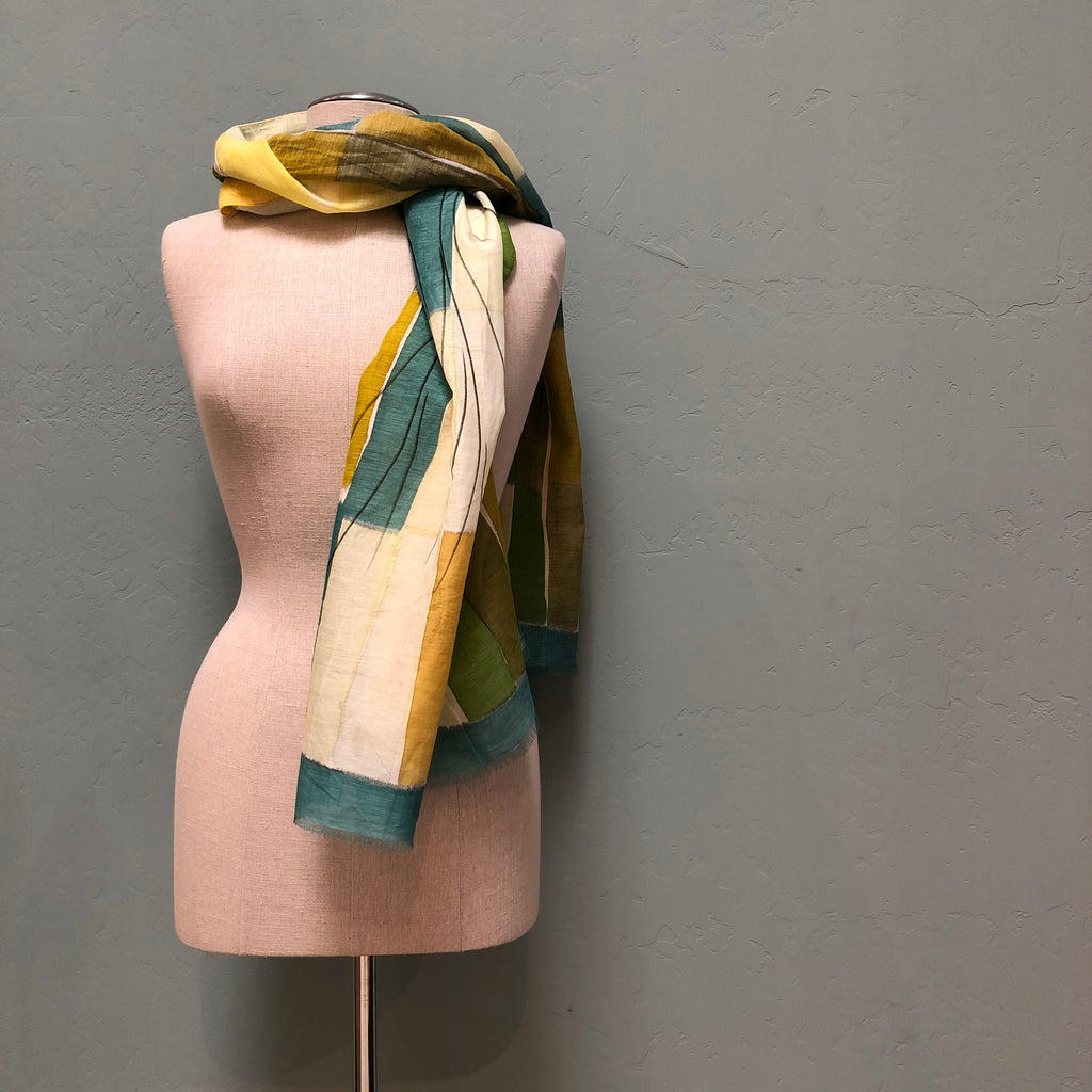 LUA Olive Tiles and Branches Shawl