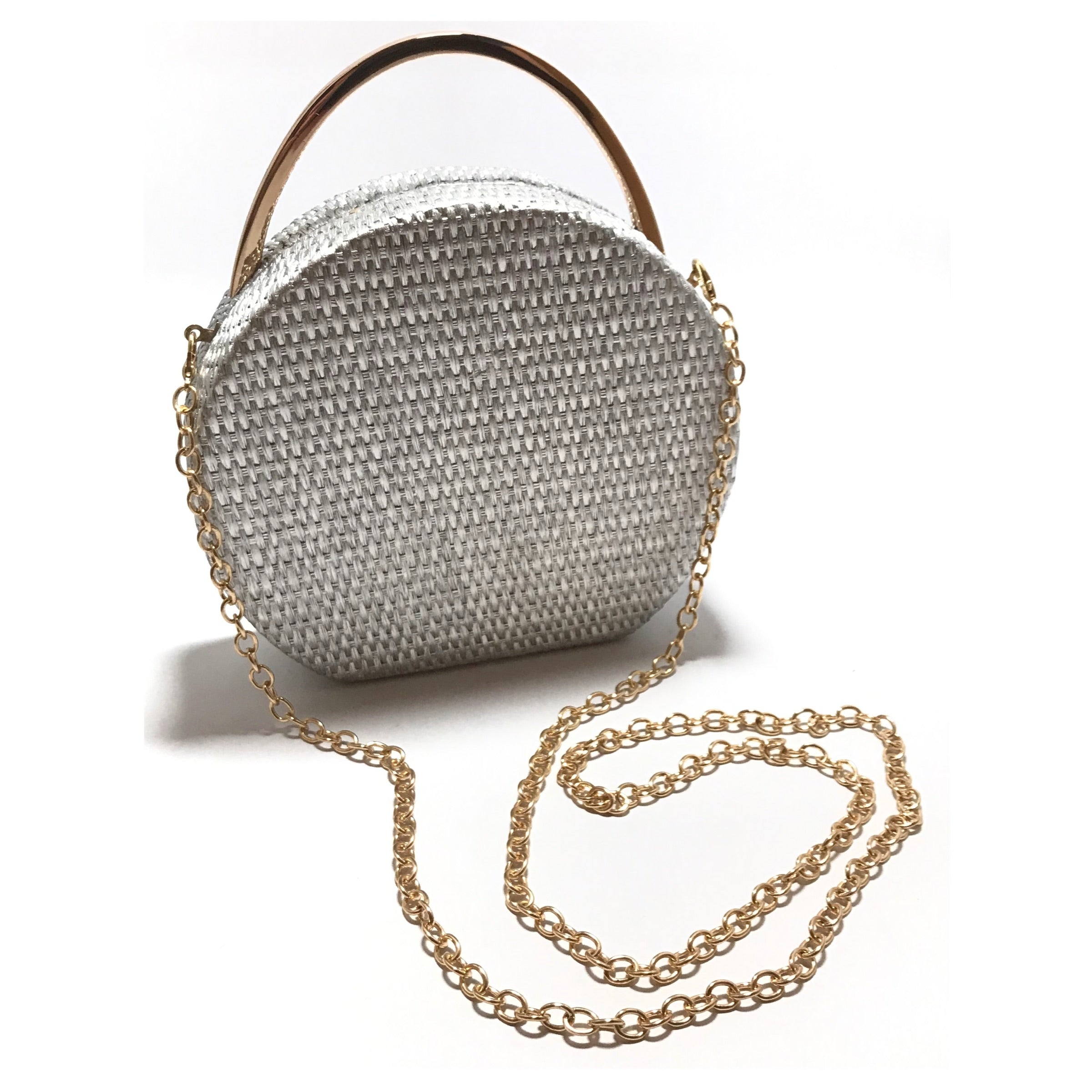 Sondra Roberts Basket Weave Texture Purse in silver