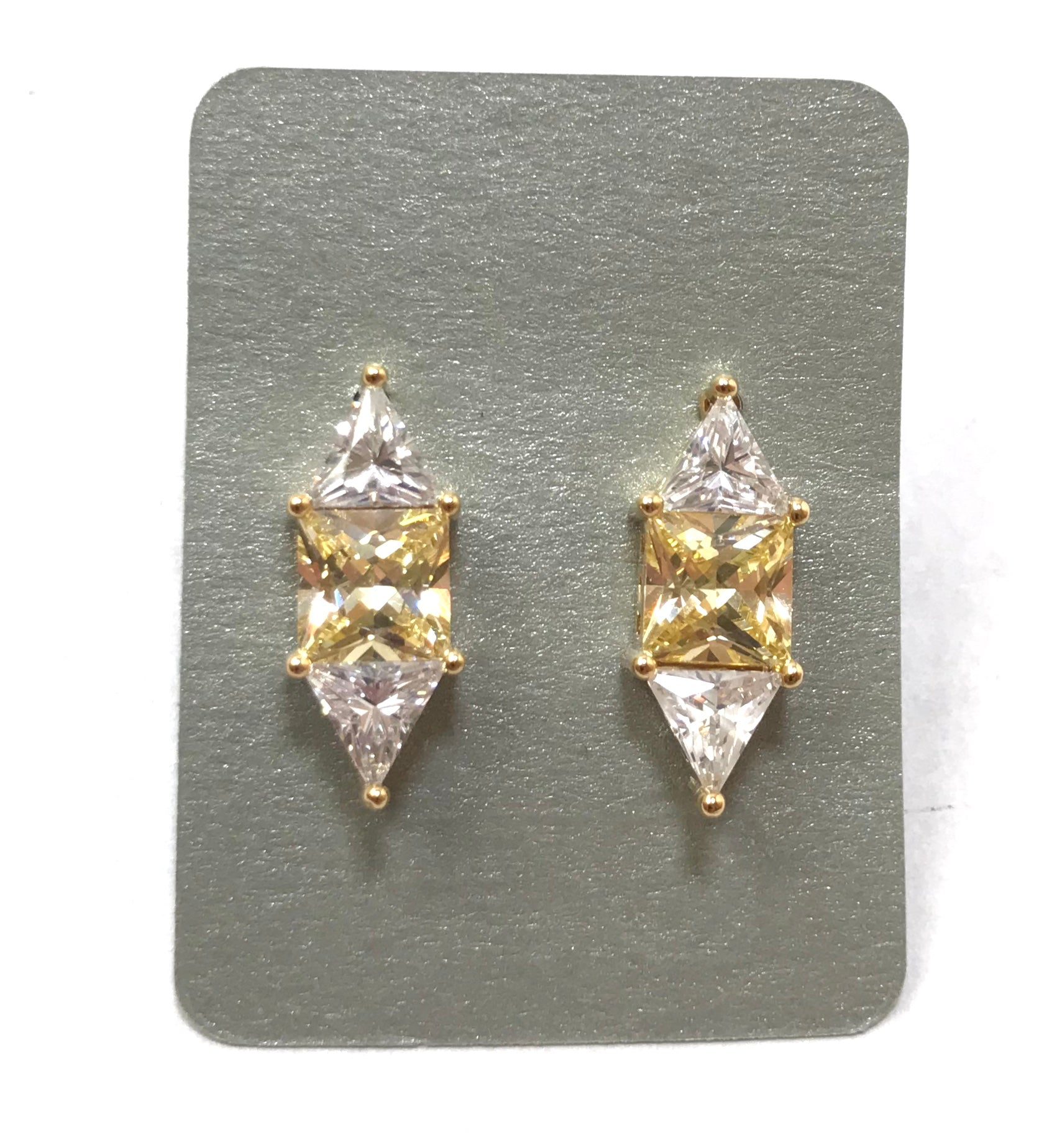 Theia Paloma Two Trillion and Princess Cut Stud Earrings