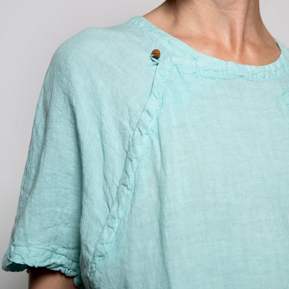 Peacock Ways Top Stitch Flair Top in Aqua