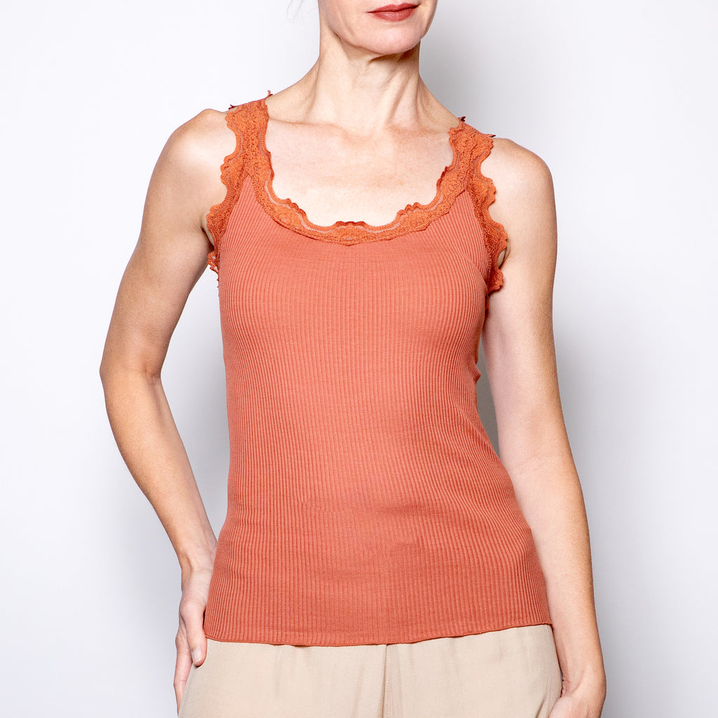 Rosemunde Ribbed Tank with Lace in Sunset