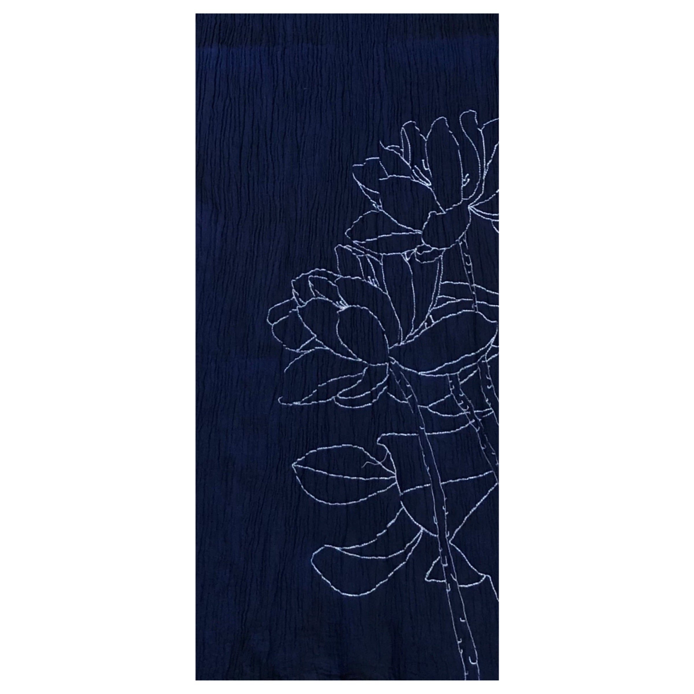 Peacock Ways Floral Embroidered Detail Scarf