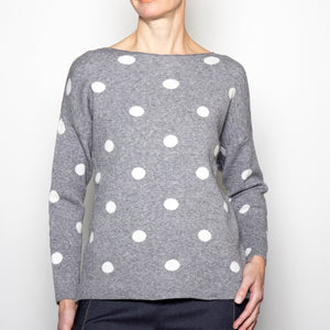 M Made In Italy Polka Dot Sweater in Grey and White