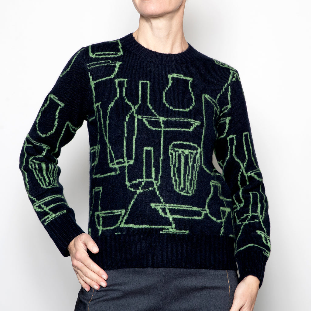 Nice Things Bottles Jacquard Knit Sweater