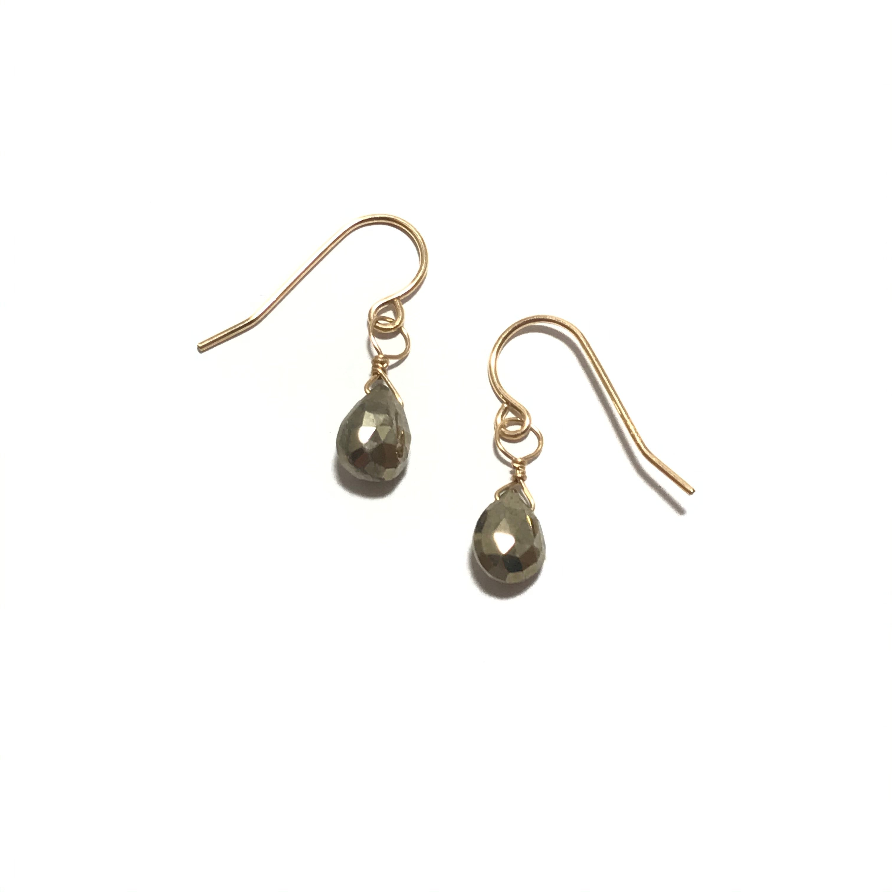 Something Blue Pyrite Drop Earrings