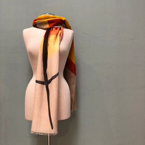 Cotton and modal print scarf with orange, black and yellow abstract design by Debbie Martin Design.