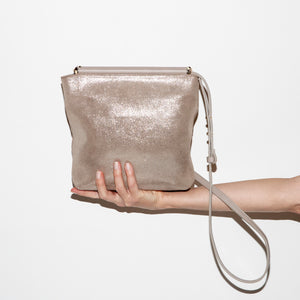 Sondra Roberts Taupe Metallic Shoulder Strap Bag