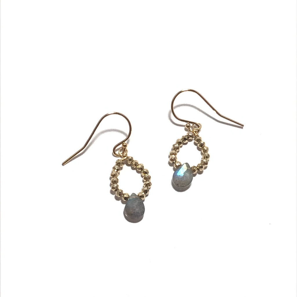 Something Blue Gold and Labradorite Circle Earrings